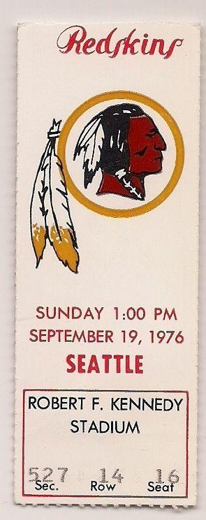 1976 washington redskins vs. seattle seahawks official #NFL ticket stub from $6.99