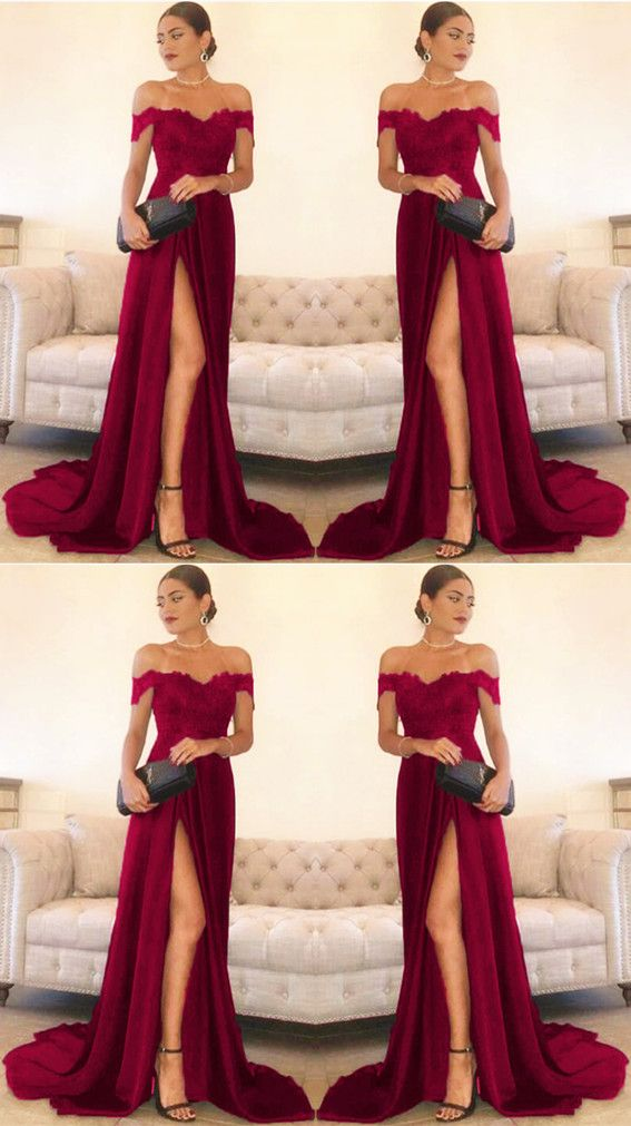 fc2604b310a8c Sexy Leg Slit Long Satin Sweetheart Prom Dresses Lace Off The ...