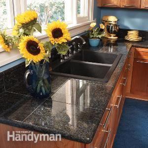 Granite Countertops: How to Install Granite Tile  I think I prefer the tile to the straight granite look