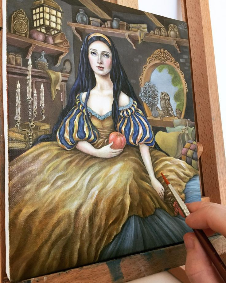 "Eeva Nikunen (@eevanikunen) on Instagram: ""Snow White got some more colour to her dress and background 🍎, I'll have to wait for these layers…"""