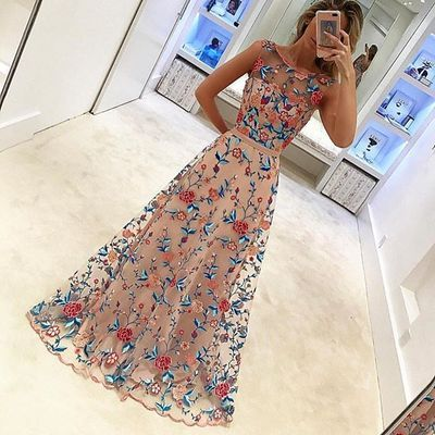 Floral Embroidery Long Prom Dress Evening Dress