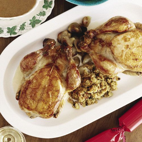 Roast chickens with quinoa stuffing
