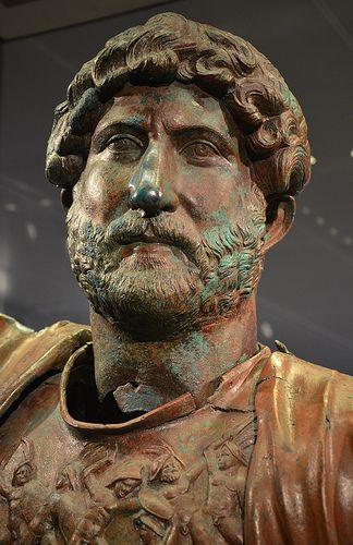 Bronze statue of Hadrian, found at the Camp of the Sixth Roman Legion (Legio VI Ferrata) in Tel Shalem, 117–138 AD, Israel Museum, Jerusalem