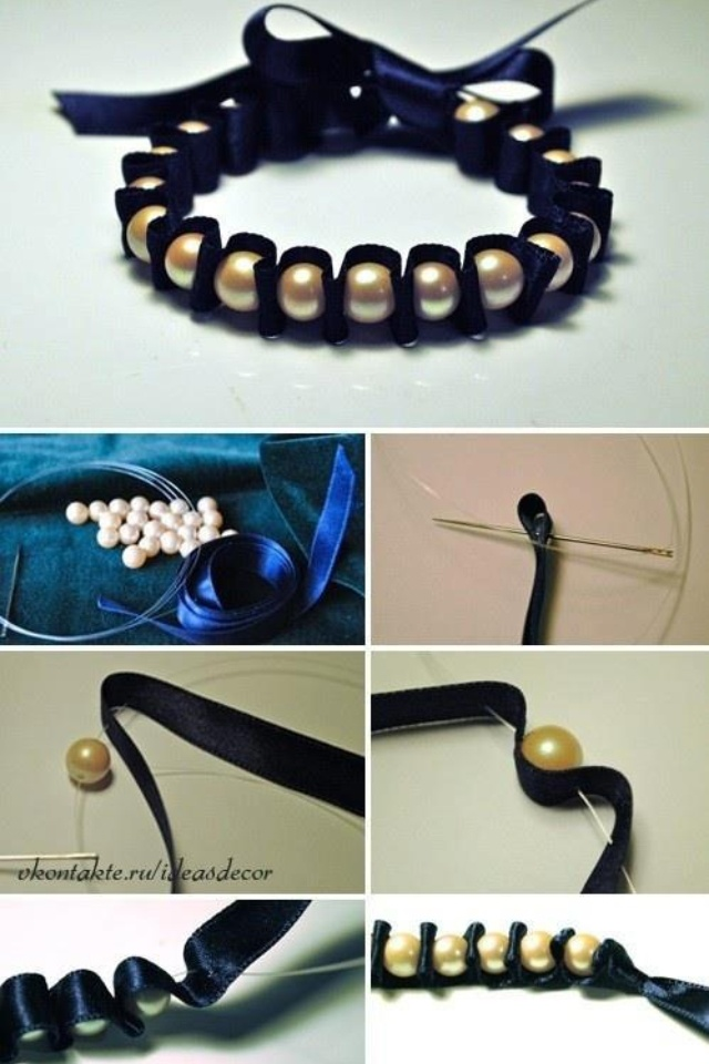Good idea to put extra pearls into use plus this bracelet will have a ribbon bow too.