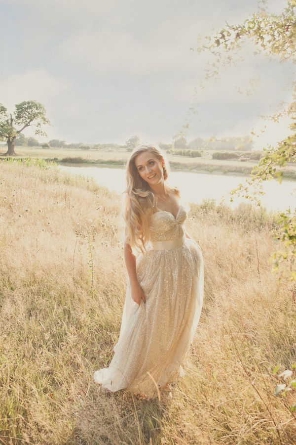 inspiration - metallic wedding dress by Sarah Seven Photo credit: Kerry Ann Duffy Photography