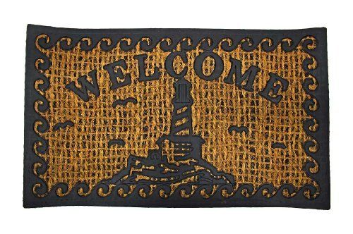Lighthouse Motif Natural Fiber Welcome Mat Doormat by Things2Die4. $17.99. Rubber Frame Resists Wear. 30 Inches Long, 18 Inches Wide. Natural Fibers Scrape Shoes Clean. This rubber and natural fiber doormat is great for areas that get muddy. The braided natural fibers help wick away water from your shoes, and scrape mud off easily. The rubber frame is long-lasting and wear resistant. It cleans easily with a water hose and dries quickly. The mat measures 30 inches lo...