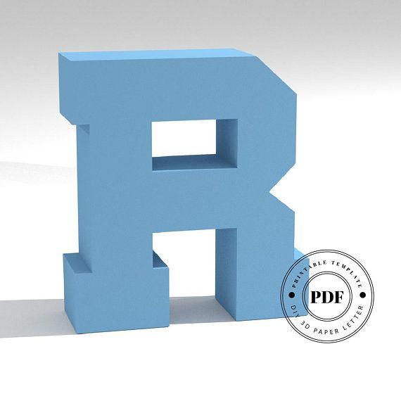 3d Low Poly Papercraft model  Letter R  Alphabet polygonal sculpture