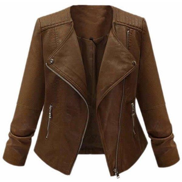 MLG Womens Fashion Plus Size Moto Zipper Short PU Leather Jacket at... ($37) ❤ liked on Polyvore featuring outerwear, jackets, plus size pleather jacket, women's plus size jackets, zip jacket, plus size jackets and leatherette jacket