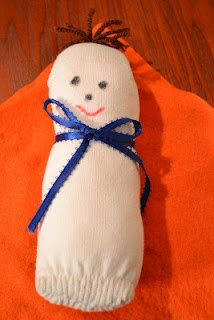 Bible Class Creations: Baby Moses from a sock. Would work for Jesus in the manger, and other Biblical Babies.