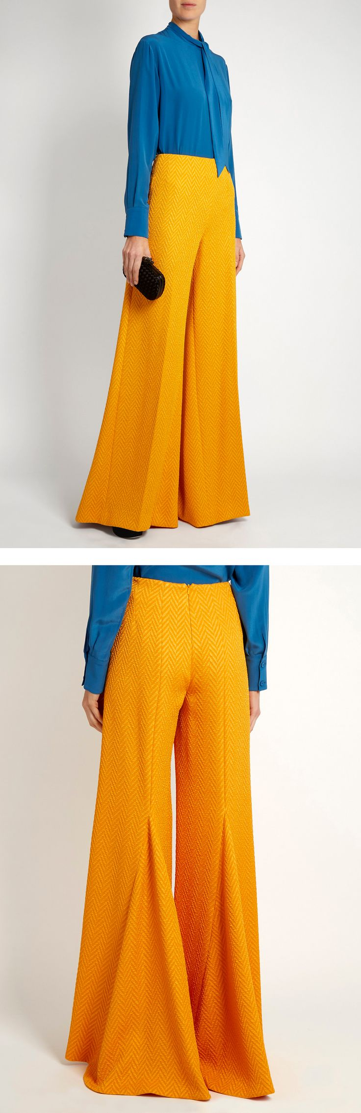 EMILIA WICKSTEAD Rodeo chevron-matelassé wide-leg trousers with fluttering godets