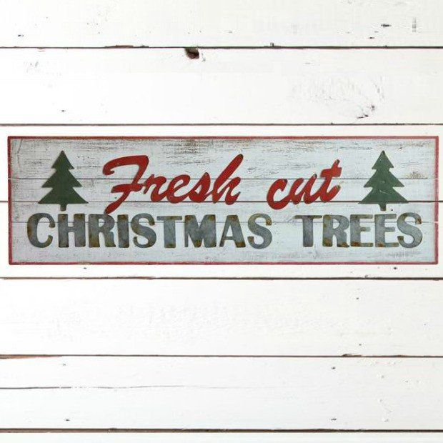 Wooden Fresh Cut Christmas Trees Wall Decor