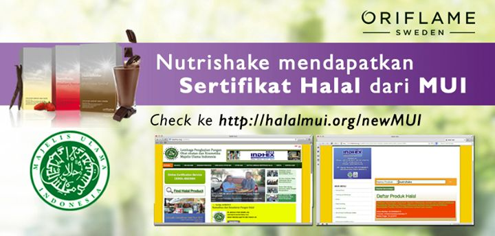 Sertifikat HALAL Nutrishake Oriflame Indonesia. Feel Great Look Great!
