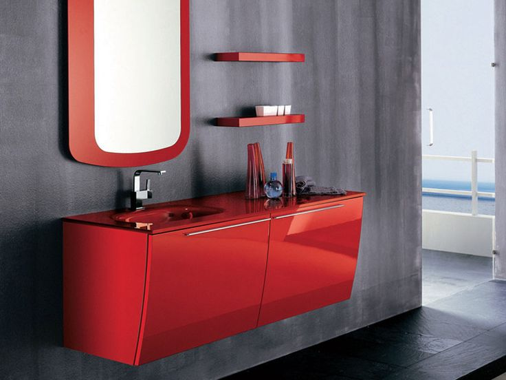 amazing modern red bathroom furniture by artesi amazing modern red bathroom furniture by artesi with wall mirror and washbasin and cabinet and dark wooden