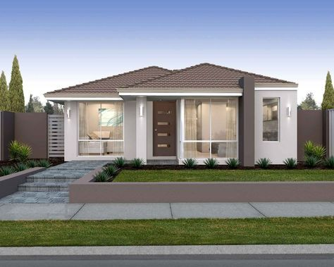 'The Aspire' elevation. 10m frontage. Cottage living accented by feature blade…
