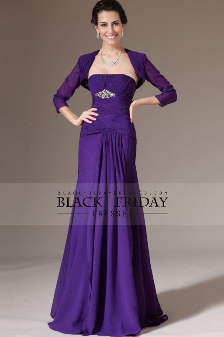 Mother Of The Bride Dresses Strapless Pleated Bodice A Line Chiffon