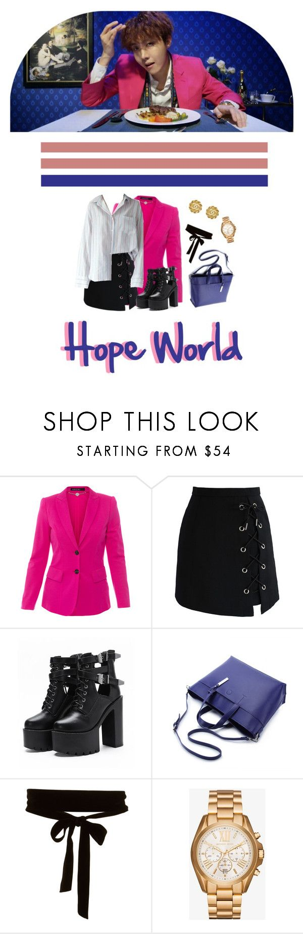 """""""WELCOME TO MY HOPE WORLD"""" by ahjinssi ❤ liked on Polyvore featuring MARC CAIN, Chicwish, WithChic, Michael Kors and Chanel"""