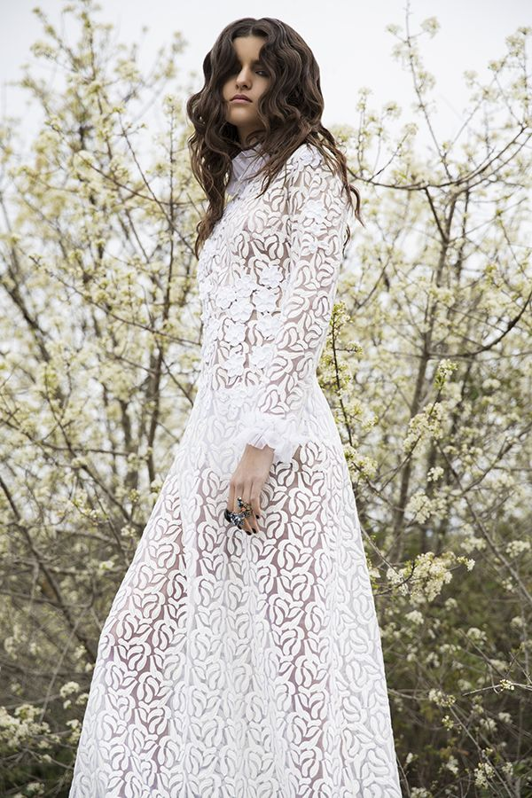 DR8450 'strong life force' dress #nevenka #madeinmelbourne #australiandesigner #lace #white #bride #organza #embroidery