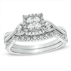 quad diamond twist shank bridal set in white gold at zales previously owned ct quad diamond twist shank bridal set in white gold - Zales Wedding Rings Sets