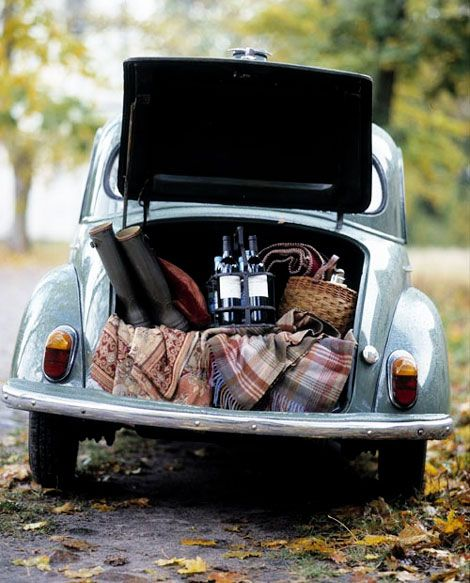 Pack the back of the car with everything necessary for a picnic.  Surprise your sweetie by picking them up after work on a weeknight and take them on an evening drive and roadside picnic! #datenightideas