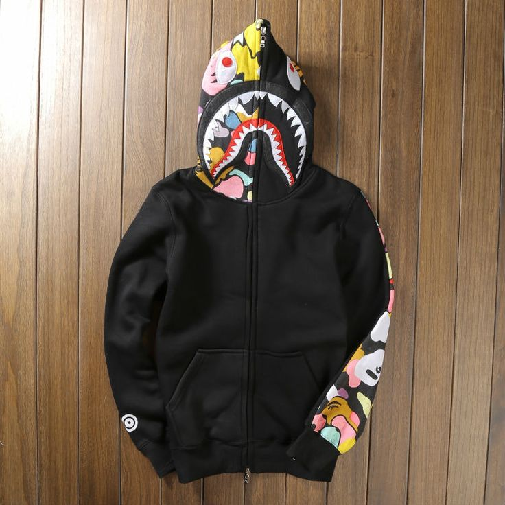 Highest quality 2015 bape shark hoodie Men and women fleece long-sleeved sweatshirts menu0026#39;s bape ...