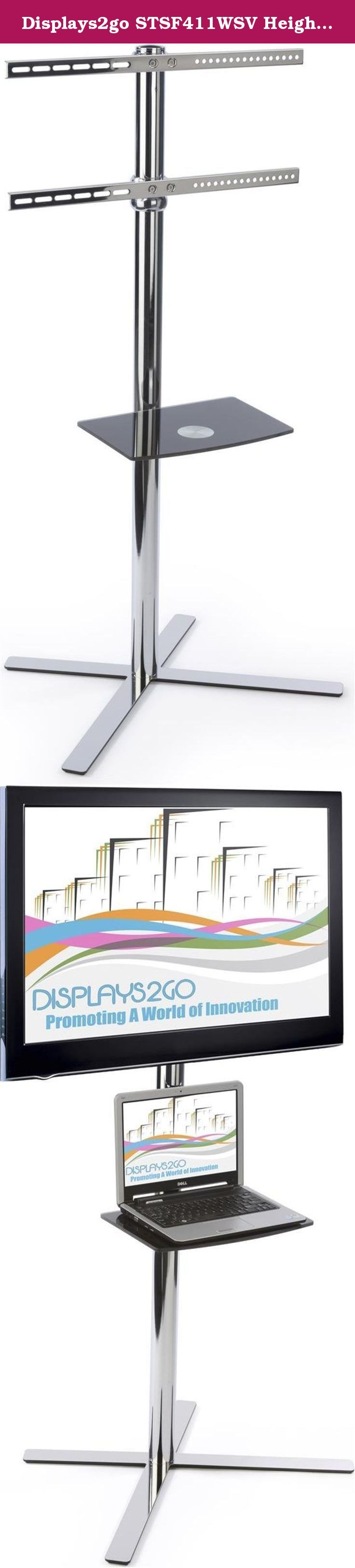 """Displays2go STSF411WSV Height Adjustable TV Floor Stand, Fits 32 to 60-Inch HDTVs, Height Adjustable Mount and Shelf (Steel). This height adjustable TV floor stand fits monitors and televisions sized from 32"""" to 60"""" in diagonal size. The VESA compatible TV bracket has a weight limit of 66 lbs., and can pan/tilt to achieve a desirable viewing angle. This TV stand has a height adjustable bracket, as well as a height adjustable shelf. The shelf is great for holding accessories and components..."""