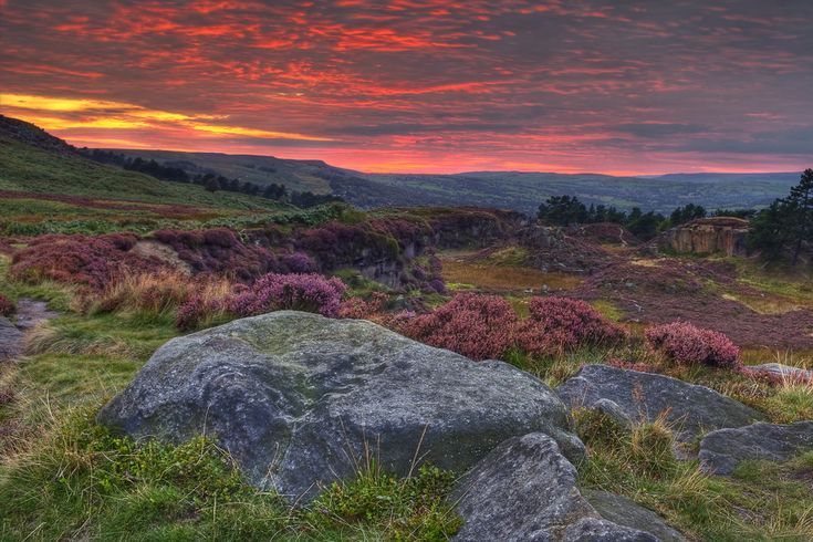 Ilkley Moor at Dusk  A dramatic sunset over Ilkley Moor - the whole sky turned red and stayed that way for some time before fading into darkness. Flickr: jwhitesmith
