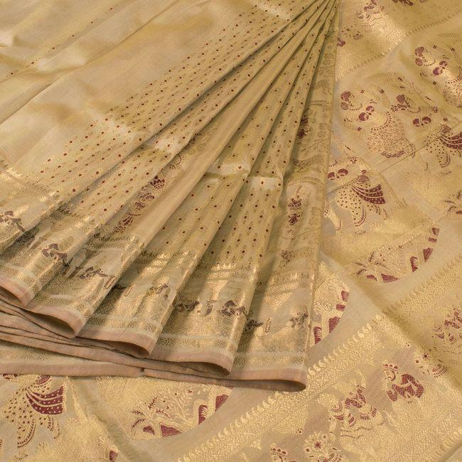 Handwoven Beige Swarnachari Fine Silk & Fine Zari Saree With Dancing Doll Motifs 10015948 - AVISHYA.COM