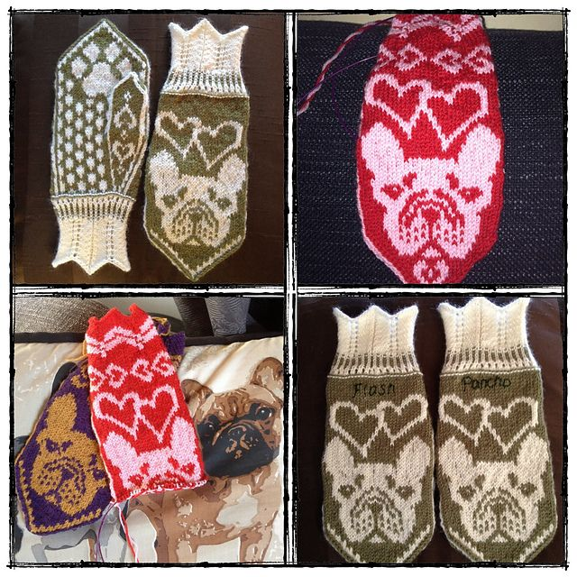 Ravelry: Frallavantar (French bulldog mittens) pattern by JennyPenny