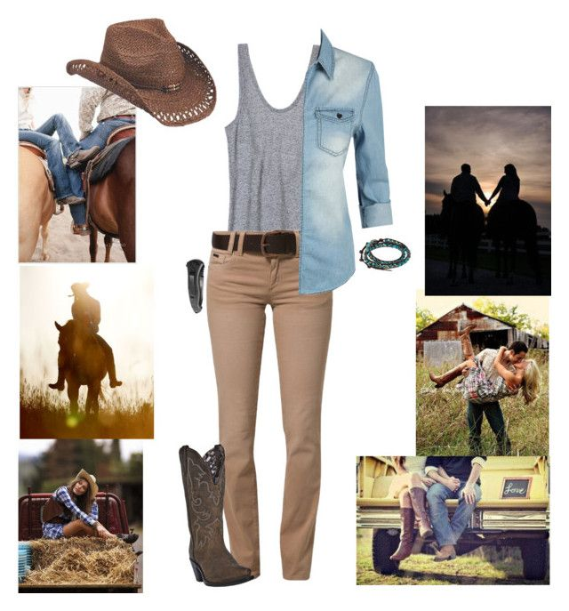 """CowGirl❤️"" by eveymeg ❤ liked on Polyvore featuring Victoria's Secret, Best Mountain, Dan Post, LE3NO, daria, Peter Grimm, Swat and Chan Luu"