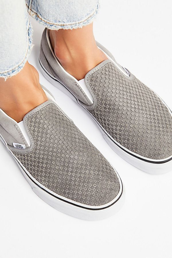 a206c2c0ee3 Embossed Suede Classic Slip On Sneaker - Textured Suede Slip On Vans  Sneakers - Gray Slip On Vans - Vans Slip Ons - Cute Vans