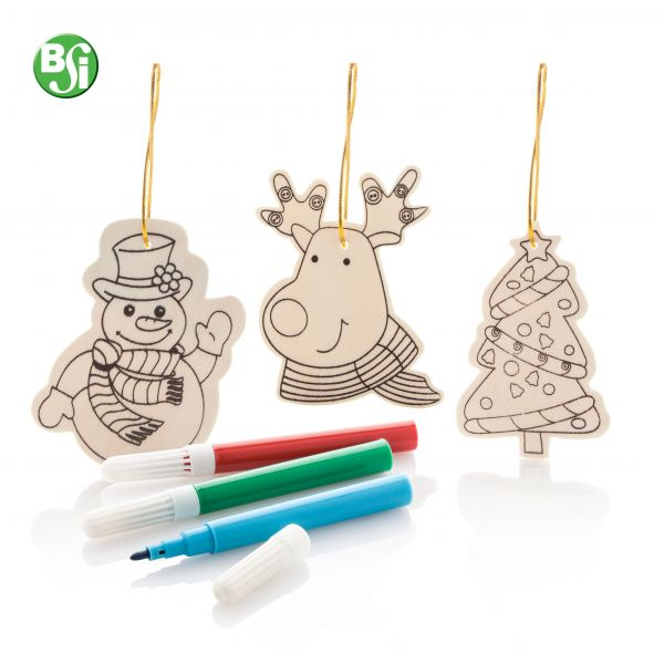 Ornamenti da colorare per l'albero di Natale in legno con diverse figure natalizie e 3pz di pennarelli.  #alberodinatale #gift #gadgetpersonalizzato #colorabile