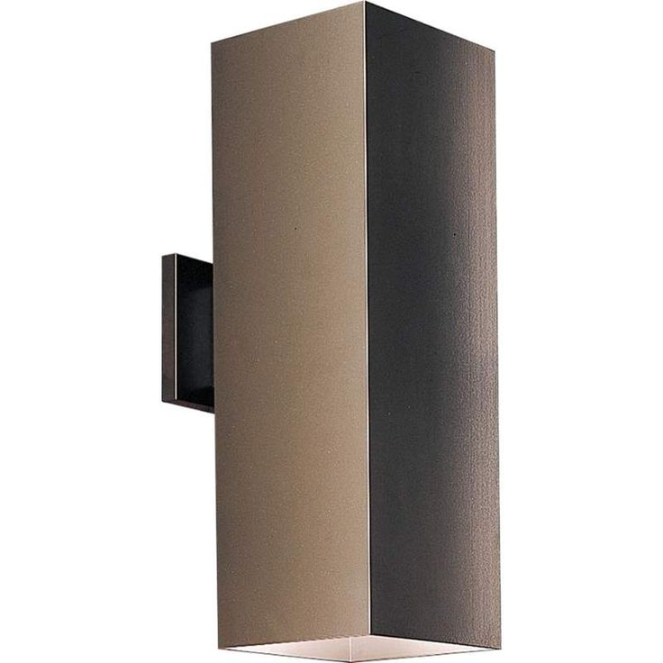 """View the Progress Lighting P5644 Square 2 Light Outdoor Wall Sconce with Metal Cylinder Shade - 18"""" Tall at LightingDirect.com."""