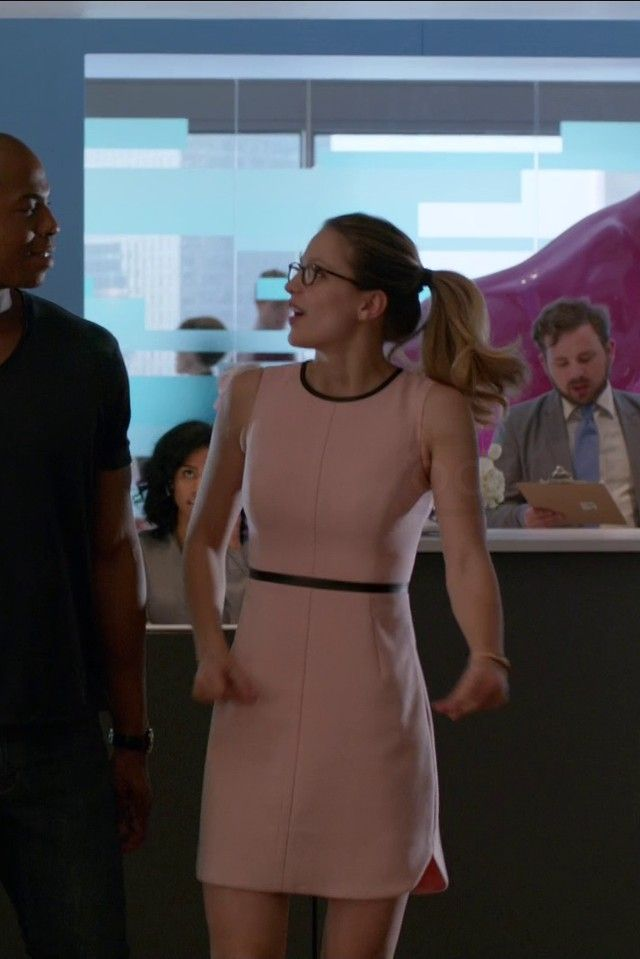 Kara Danvers / Supergirl wearing  Banana Republic Piped Sheath, L.A. Eyeworks Dap Frames in Tortoise
