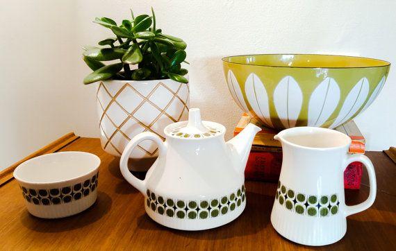 Figgjo Flint Norway Tea Pot Milk Jug and Sugar Bowl Rare Pattern 1960s /Green Geometric pattern/Mid Century Scandinavian Tea Set
