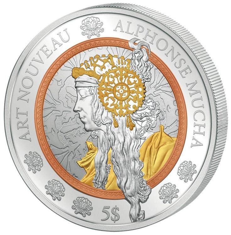 2016 2 Ounce Art Noveau - Alphonse Mucha Silver Coin w/ Gold, Rose Gol – ArtInCoins
