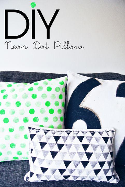DIY neon dot pillow! Too cool