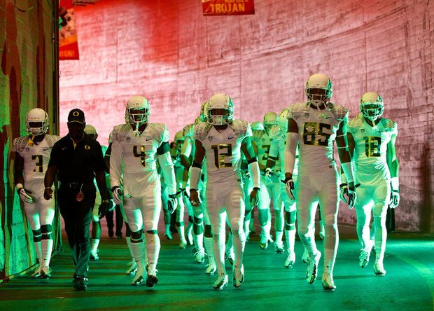 """The Oregon Ducks wore these all white """"stormtrooper"""" uniforms in their 2012 game against USC"""