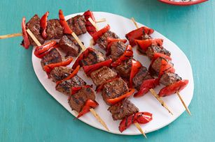 Kraft Food & Family Magazine (Summer 2013): Beef and Red Pepper Kabobs - Here's the beef (and red peppers): Skewers of sirloin steak are marinated in A.1. and grilled to perfection.