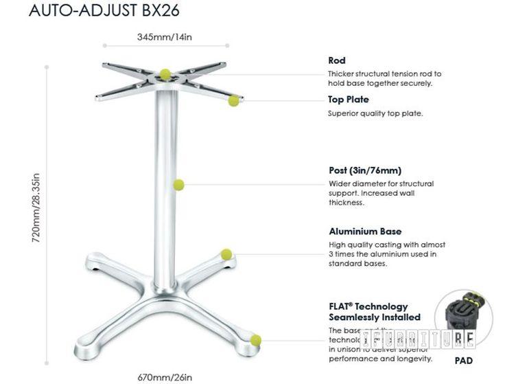 BX26 FLATTECH Auto Adjust Table Base , Commercial & Cafe, NZ's Largest Furniture Range with Guaranteed Lowest Prices: Bedroom Furniture, Sofa, Couch, Lounge suite, Dining Table and Chairs, Office, Commercial & Hospitality Furniturte