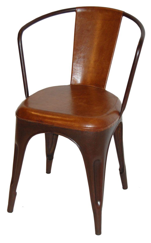 Spisebordsstole : Living-Stol - læder og antikrust stel