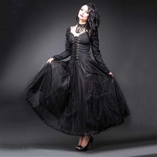 Lange jurk met corset lint detail en tule rok zwart - Gothic