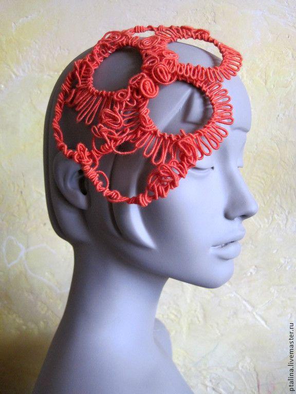 """Купить авторская шляпка цвета"""" красный апельсин """""""" - шляпка, свадебная шляпка, свадебные аксессуары"""