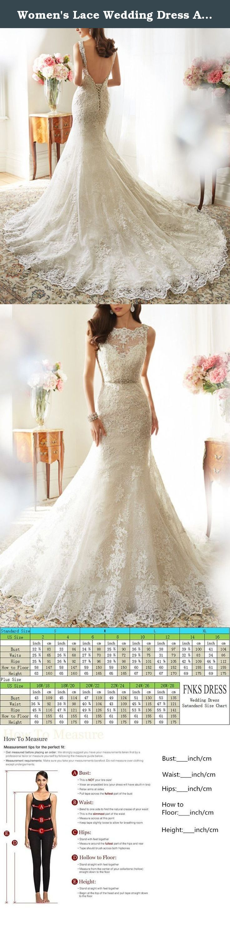 Women's Lace Wedding Dress Applique Mermaid Beaded Belt Laceup Wedding Dress for Bride 2017. Features: All our wedding dress are handmade so the size may vary by approximately one inches in either. direction of the measurements.Please kindly check the us size chart before making Order. Suitable: Church wedding, beach wedding, outdoor wedding, ordinary wedding. Shipping: Our dress need a additional tailoring time,usually you can get it within 8-18 days,if you chhose Expedited. Standard...