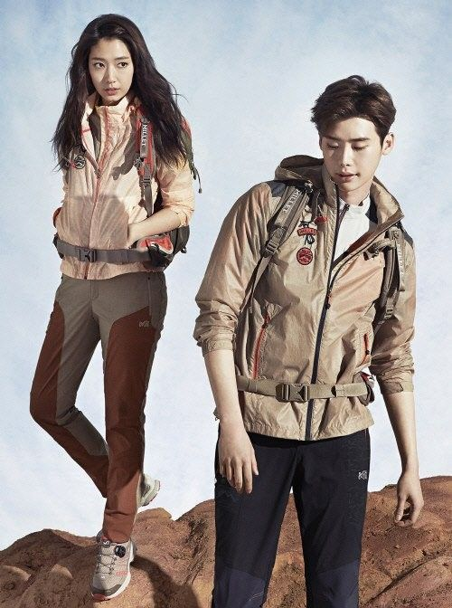 'Pinocchio' co-stars Lee Jong Suk and Park Shin Hye are a sporty couple for 'Millet's 2015 S/S pictorial | http://www.allkpop.com/article/2015/02/pinocchio-co-stars-lee-jong-suk-and-park-shin-hye-are-a-sporty-couple-for-millets-2015-s-s-pictorial