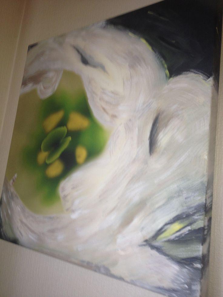 Blomst - laget på fotobilde og malt over deler av det med akryl
