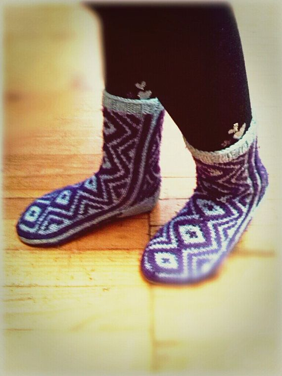 Two-Color Children's Socks by WarmandCozyKnits on Etsy
