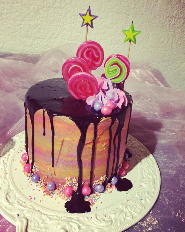 Crazy colour Mic cake. Chocolate drips