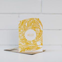 BLOOM // Hello - Mustard - letterpress card - Birds of a Feather Co