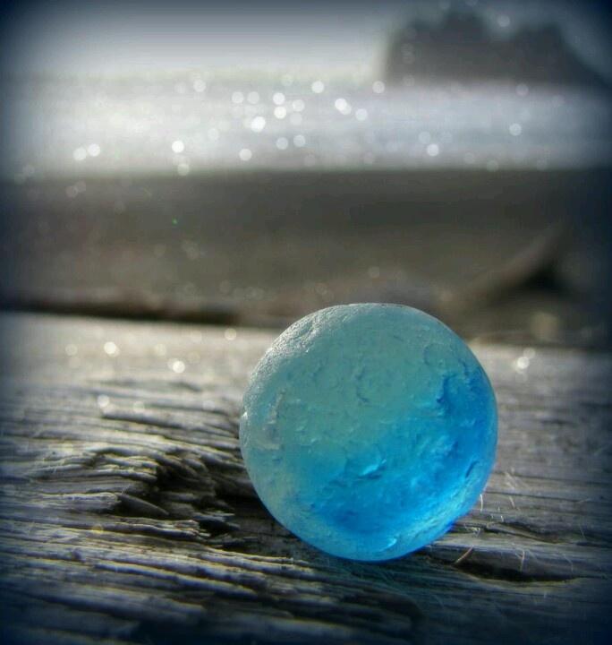 Blue seaglass marble
