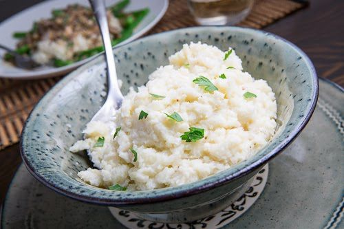 Garlic Mashed Cauliflower, perfect for our Plain Greek Style Yogurt (and perfect for dinner too hahaha)